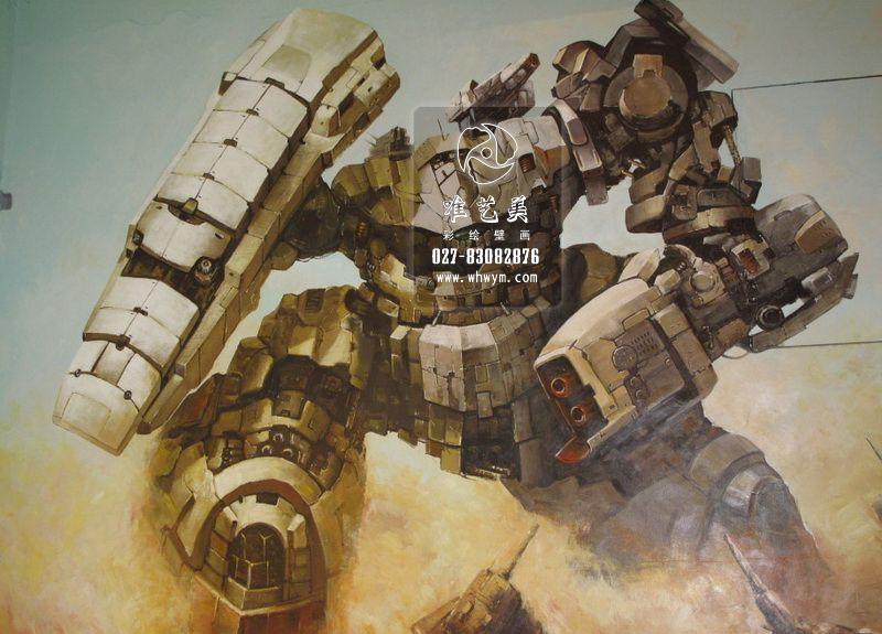 机甲战士3d画(彩绘,3d